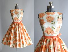 Vintage 1950s Dress / 50s Cotton Dress / Mindy Ross Peach Floral Sun Dress M