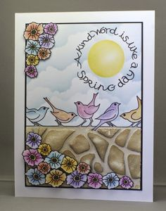 Spring Birds Card. Clarity stamps and stencil. Grunge Paste wall.
