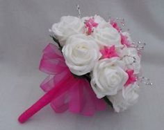 WEDDING FLOWERS - BRIDES BRIDESMAIDS POSY BOUQUET IN WHITE  HOT PINK AND SILVER
