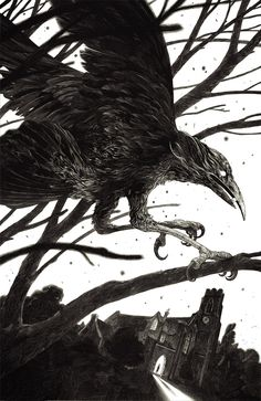 "Cover for Wakening the Crow by Stephen Gregory - Solaris Books. Ink on clayboard, 11x15""."