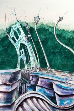 My favorite piece by my friend, Ward. Love the St. Portland Bridges, Bridgetown, The St, Giclee Print, Real Life, Fine Art Prints, Spirit, Things To Come, Museum