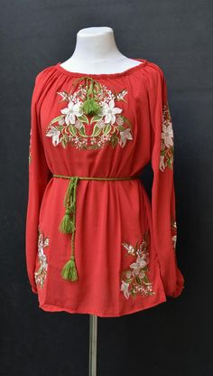 Red chiffon blouse embroidered ukrainian shirt with lilies Red Chiffon, Embroidered Blouse, Lilies, Embroidery Designs, Bell Sleeve Top, Oriental, Shirts, Etsy, Clothes