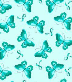 Anti Pill Fleece Print-Teal Ribbon N Butterfly, , hi-res