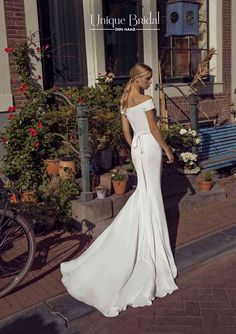 Dixie wedding dress, Le Papillon by Modeca. Modern chic off the shoulder wedding dress, fitted + slinky Slinky Wedding Dress, Bardot Wedding Dress, Chic Wedding Dresses, Lace Wedding Dress, Ceremony Dresses, Beautiful Wedding Gowns, Luxury Wedding Dress, Wedding Dress Styles, Designer Wedding Dresses