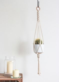 Macrame Plant Hanger > Cotton Cord in Natural Ecru with Chinese Knot Detail & Wooden Ring Macrame Art, Macrame Projects, Pot Hanger, Pine Branch, Wooden Rings, Make Design, Hanging Plants, Plant Holders, Plant Decor