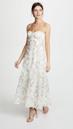 c60889544680 Marchesa Notte 3D Embroidered Strapless Gown Perfect Wedding Dress, Tea  Length Wedding Dress, Bridal