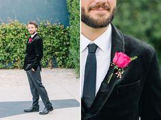 Bright + Modern Wedding Inspiration at The Fig House Modern Wedding Inspiration, Velvet Jacket, Green Wedding Shoes, Green Velvet, Fig, Floral Tie, Backdrops, Groom, Fashion