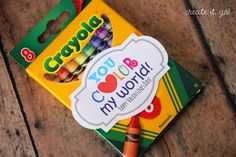 Crayons: You color my world! Collection of DIY Valentines {with Free Printable Valentine Tags}