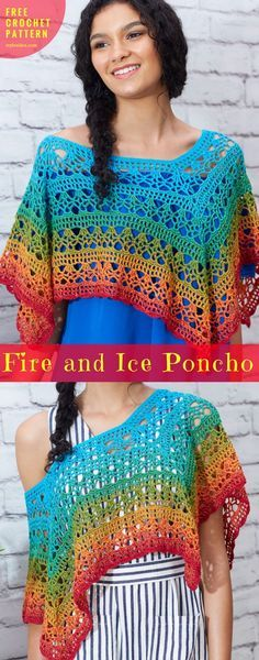Fire and Ice Poncho [Free Crochet Pattern]   My Hobby