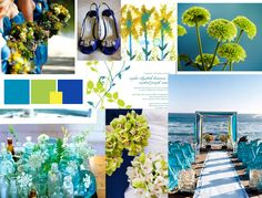 blue green and yellow wedding details