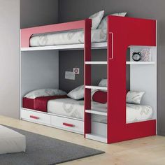 Unisex Modern Kids Bedroom Designs Ideas – Decorating Ideas - Home Decor Ideas and Tips Bunk Beds Small Room, Bunk Beds Boys, Modern Bunk Beds, Bunk Beds With Stairs, Kid Beds, Small Rooms, Kids Beds With Storage, Bed Storage, Storage Ideas