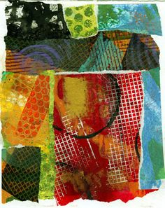 scribble collage by Jane Davies. PAINT ON TISSUE PAPER TO USE ON GELLI PLATE.