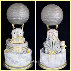 Gender Neutral Hot Air Balloon Diaper Cake www.facebook.com/DiaperCakesbyDiana