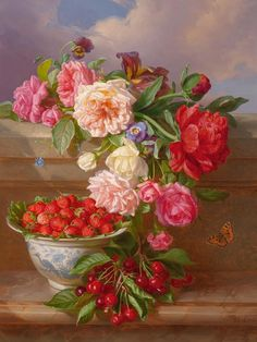 Andreas Lach 1827-1882  Still Life with Roses, Peonies, Strawberries and Cherries