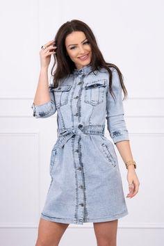 Modré dámske rifľové šaty s gombíkmi