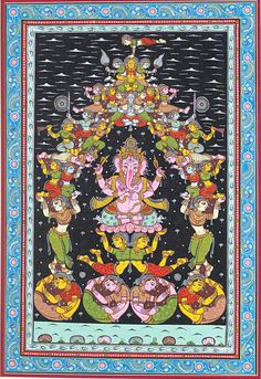 Lord Ganesha surrounded by Apsaras Pattachitra, Shubh Painting.  Four-handed Lord Ganesha surrounded by Apsaras(celestial maidens) creating a temple-like effect depicting good luck and great fortune. (via artreasurehk.com)