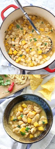 Crushed tortilla chips thicken and flavor the broth for a flavorful soup in warp speed time #chili #onepot | foodiecrush.com