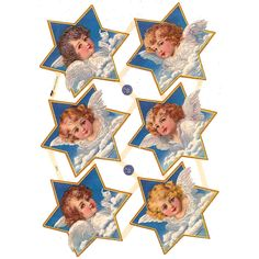 Angels on Clouds Star Scraps with Glitter ~ Germany