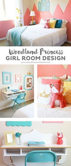 You'll love all the details of this Modern Woodland Princess Girl Room Design!