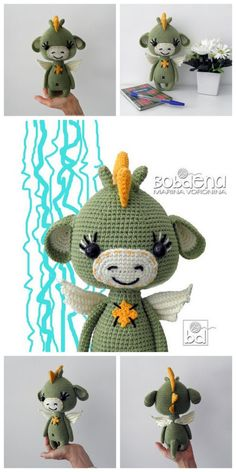 Snakes Dragon is a permanent hero of almost all Russian fairy Tales. Our ancestors endowed him with very diffe Crochet Dragon Pattern, Crochet Amigurumi Free Patterns, Crochet Animal Patterns, Stuffed Animal Patterns, Crochet Animals, Free Crochet, Snake Dragon, Crochet Projects, Dolls
