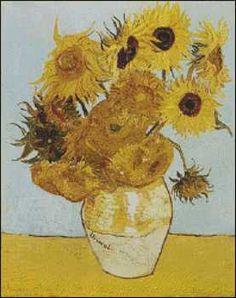 Sunflowers - Vincent van Gogh.Fine art cross stitch pattern. Stitch count 198w x 250h 55 colors http://www.artofstitching.com/index.php?main_page=product_info&cPath=4_8&products_id=338