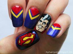 Cherry nails - zdobienie paznokci naturalnych: Superman