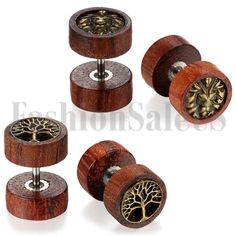 New Unisex 8mm Wide Wood Round Barbell Dumbbell Men's Women's Stud Earrings 2Pcs #Unbranded #Studs