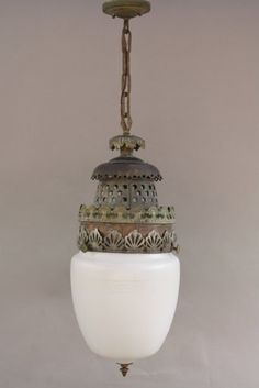 "8043. 1920's Glass Pendant With Great Moorish Style Fitter. Circa 1920's pendant with original etched glass shade and intricate Moorish style fitter.Measures:27.25.""H x 11.25""W x 38.5""H with chain and canopy."