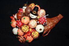 Thanksgiving cake pops in a cornucopia