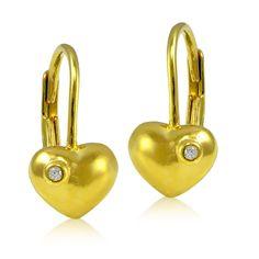 Icz Stonez 18k Gold Over Silver Cubic Zirconia Heart Children S Leverback Earrings Yzel963 Size Small White Sensitive Ears18k