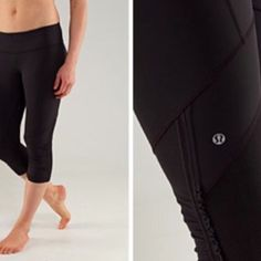 Lululemon run crops Lululemon black run crops, size 4, gently worn and still in good condition with no holes/rips/stains, super comfy, mid calf length. Bundle to save. Price firm but I can give you 1.99 shipping at this price, just ask before you buy. lululemon athletica Pants Ankle & Cropped