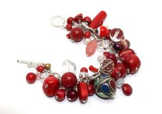 Red Coral, Quartz, Pearls and Crystals Cha-Cha Charm Bracelet   AyaDesigns - Jewelry on ArtFire