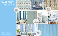Placid Blue - Pantone Spring 2014 -   This breezy shade brings to mind a clear springtime sky - lend the tranquility of this wonderful colour to your interiors with the artistic stripe Hyatt Duckegg, comprised of tiny embroidered squares, or the restful waves of Leon Sky.  Go with a traditional leaf design in Partere Mineral Blue, or bring your curtains up to date with the cute Anais Mineral.