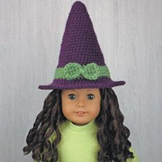 """WITCH HAT HALLOWEEN COSTUME for AMERICAN GIRL DOLLS ❤ Crochet pattern in the book """"Amigurumi Holiday Hats for 18-Inch Dolls"""" by Linda Wright. Book available at Amazon.com. This Witch hat for American Girl dolls is an easy crochet pattern. It will fit any 18-inch dolls."""