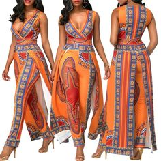 BAIBAZIN African Dresses for Women's Explosion Models 2018 Autumn Positioning Printing Orange Ethnic Pants African Fashion Designers, African Dresses For Women, African Print Fashion, Africa Fashion, African Attire, African Wear, African Fashion Dresses, Ethnic Fashion, African Prints