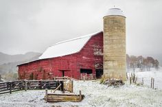 Snowy Barn - Very few photos are better than a red barn in the snow. Taken in Waynesville, NC (where we live) by Solitary Traveler Photography. Have a great evening!   Stop by! http://blueridgemountainlife.com/