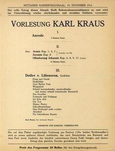 Vorlesung Karl Kraus am Luther, Karl Kraus, Vienna, Vintage, Concert, Objects, Vintage Comics