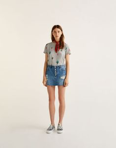 ed3f932469627 Pull Bear - woman - clothing - t-shirts - all-over cactus print t