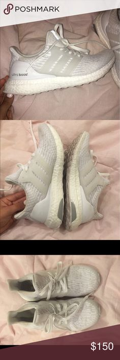 Adidas ultra boost triple white Worn once, were too big, size 6.5 Adidas Shoes Sneakers