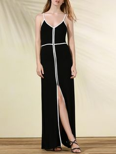 Flowing Contrasting Piped Prom Dress #CLICK! #clothing, #shoes, #jewelry, #women, #men, #hats
