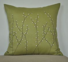 Pussy Willow Throw Pillow Cover Decorative Pillow by KainKain