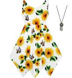 63e8d133b Cheap fashion girl dress, Buy Quality girls dress directly from China girl  dress fashion Suppliers: Sunny Fashion Girls Dress Sunflower Butterfly  Hanky Hem ...