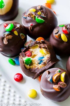 A Peanut Butter M&M'S Truffle recipe from @sallybakeblog at SallysBakingAddiction.com proves that peanut butter and chocolate are a perfect combination!
