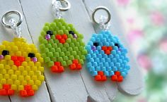 Beaded Lime Green Spring Chick Pendant, Kawaii Charm, Seed Bead Jewelry, Brick Stitch Bead Weaving