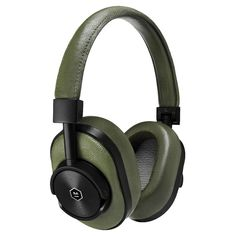 Master & Dynamic High Definition Bluetooth Wireless On-Ear Headphone - Olive/Black Best Headphones, Bluetooth Headphones, Over Ear Headphones, Technology Gadgets, Audiophile, Headset, Leather, Stuff To Buy, Things To Sell