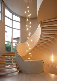 stairway lighting Staircase Contemporary with beige wall curved floor-to-ceiling windows glass bubble