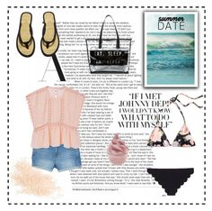 """Summer date♥.. #102"" by rania-horan-stylinson-palik ❤ liked on Polyvore featuring Eve Lom, MANGO, Marysia Swim, Madewell, H&M and Disney"