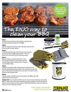The ENJO way to clean your BBQ. How To Clean Bbq, Chemical Free Cleaning, Fibres, Natural Cleaning Products, Tandoori Chicken, Projects For Kids, Cleaning Hacks, Grilling, Healthy