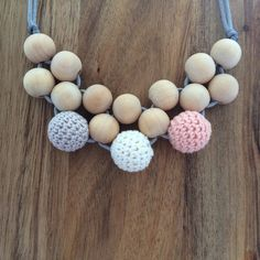 """This is """"peaches and cream"""", one of the new wooden collection of teething necklaces now available in the shop. Love how it doesn't even look like a teething necklace! Xx"""