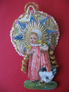 This ornament is a vintage look ornament with a girl with baby chicks and hen from a vintage 1913 postcard. She has been enhanced with Vintage Christmas Ornaments, Christmas Wreaths, Christmas Decorations, Xmas, Paper Lace, Crepe Paper, Old World Christmas, Baby Chicks, Christen